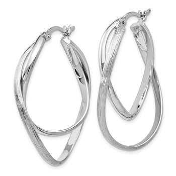 Leslie's Sterling Silver Polished and Textured Hoop Earrings