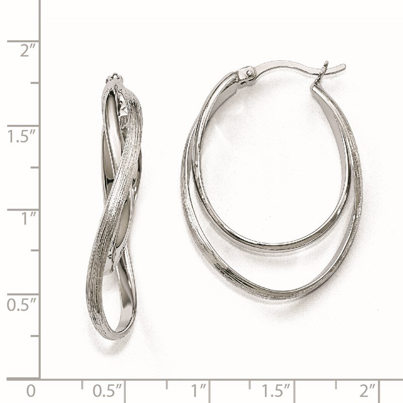 Leslie's Leslie's Sterling Silver Polished and Textured Hoop Earrings