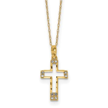 14k Polished CZ Cross Pendant Necklace