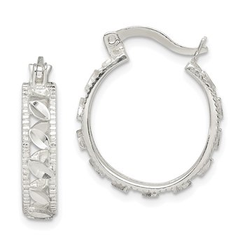 Sterling Silver Diamond-cut Oval Hoop Earrings
