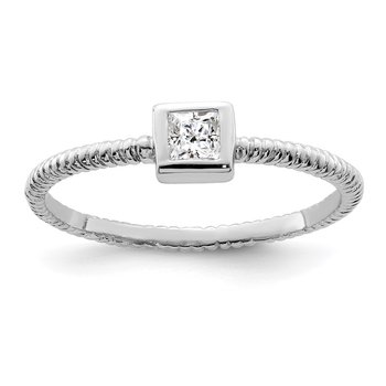 Sterling Silver Rhodium-plated Polished & Textured CZ Square Ring