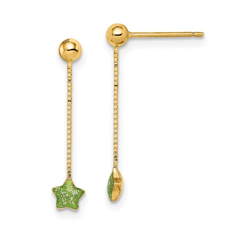 Quality Gold 14k Madi K Enameled Star Chain Dangle Post Earrings