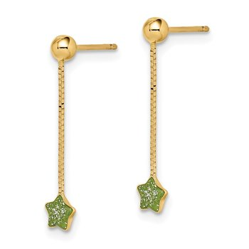 14k Madi K Enameled Star Chain Dangle Post Earrings