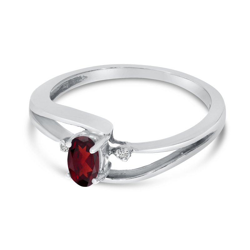 14k White Gold Oval Garnet And Diamond Wave Ring