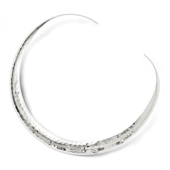 Leslie's Sterling Silver Polished Hammered Slip-on Neck Collar