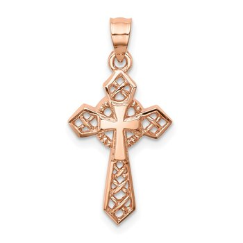 14K Rose Polished Cross Pendant