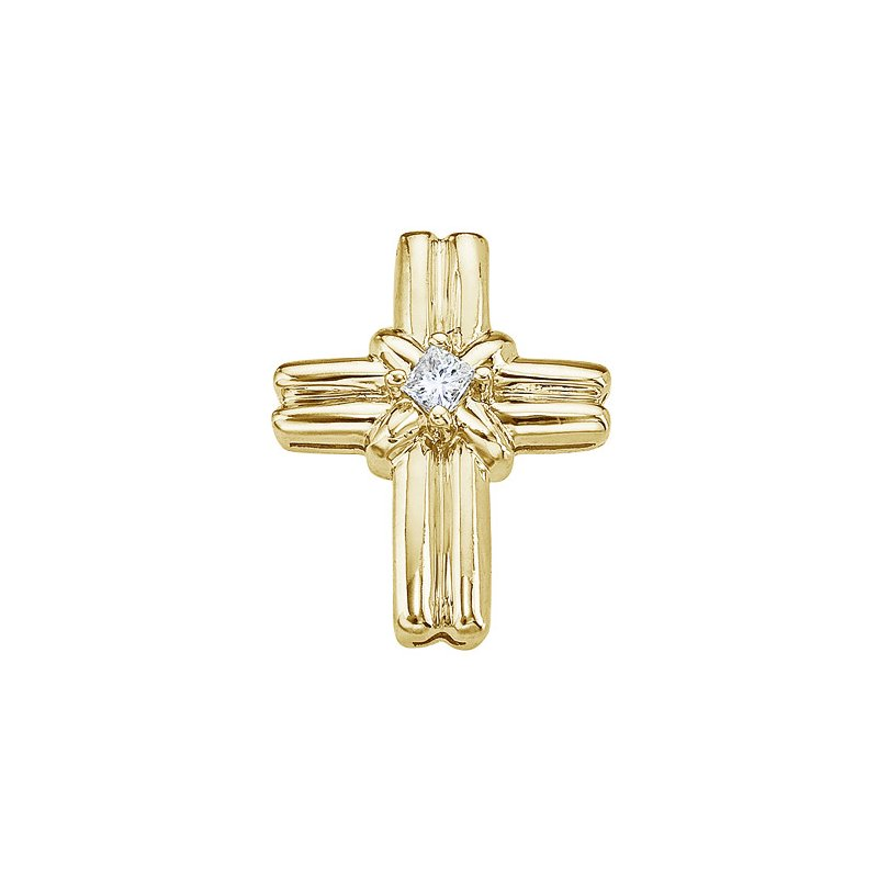 Color Merchants 14K Yellow Gold Princess Diamond Cross Pendant