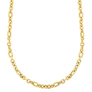 14K Gold Italian Cable Oval Link Necklace