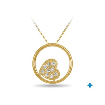 10K YG Cluster Diamond Heart in a Circle Pendant