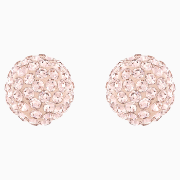 Blow Pierced Earrings, Pink, Rose-gold tone plated