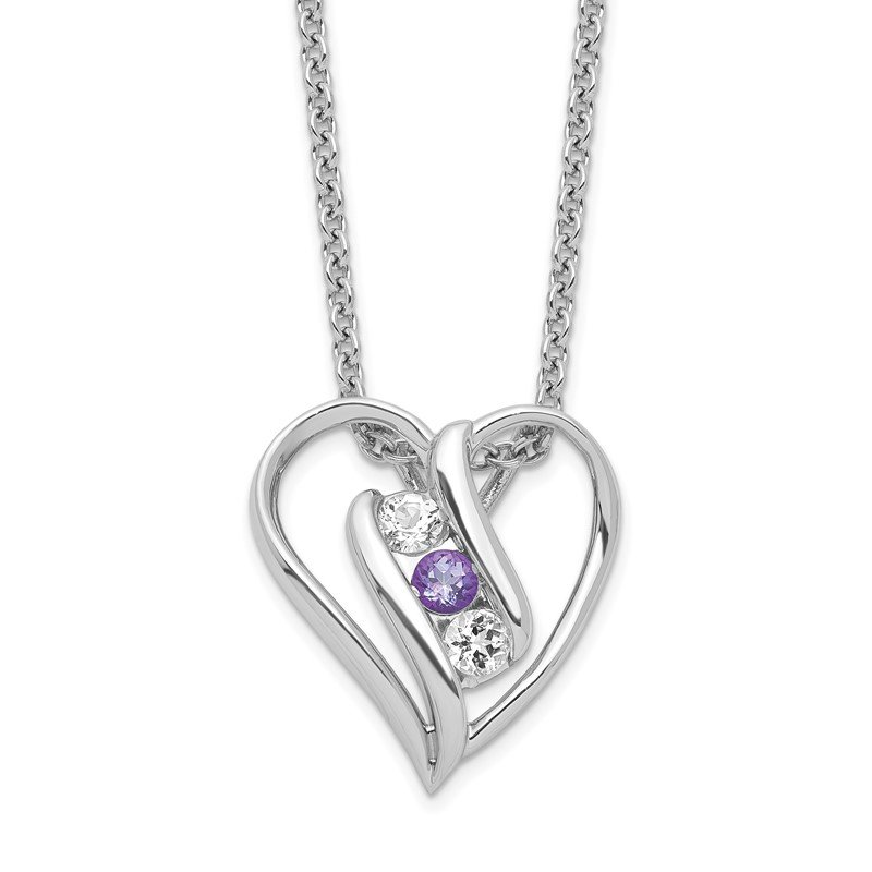 Quality Gold Sterling Silver Survivor Clear & Purple Swarovski Topaz Heart Support Neckl