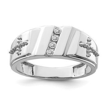Sterling Silver Rhodium Plated Diamond & Cross Men's Ring