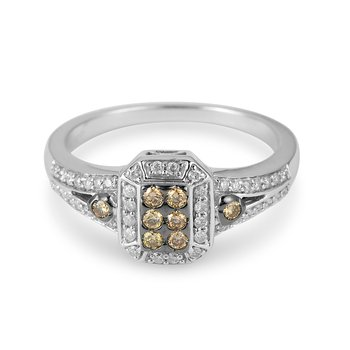 14K WG White & Champagne Diamond Ring