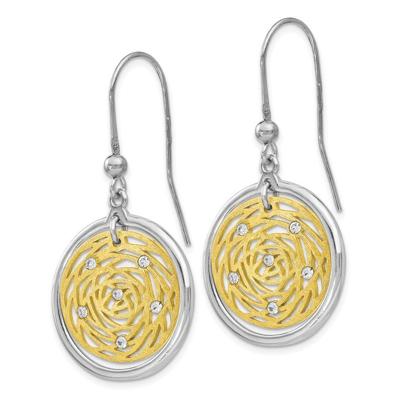 Leslie's Leslie's Sterling Silver Gold-tone Scratch-finish CZ Dangle Earrings