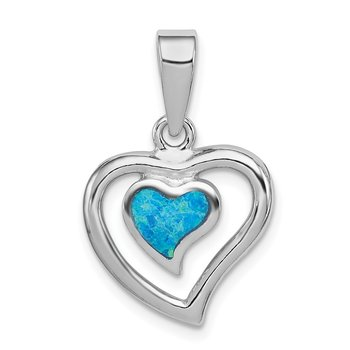 Sterling Silver Created Blue Opal Inlay Heart Pendant