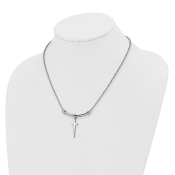Leslie's Sterling Silver Polished Cross w/1in ext. Necklace