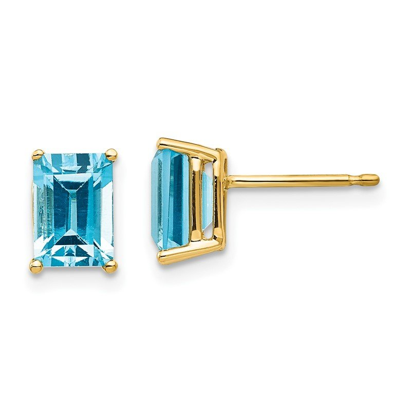 Quality Gold 14k 7x5mm Emerald Cut Blue Topaz Earrings