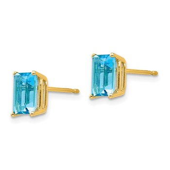 14k 7x5mm Emerald Cut Blue Topaz Earrings