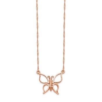 14k Rose Gold Polished Butterfly Necklace