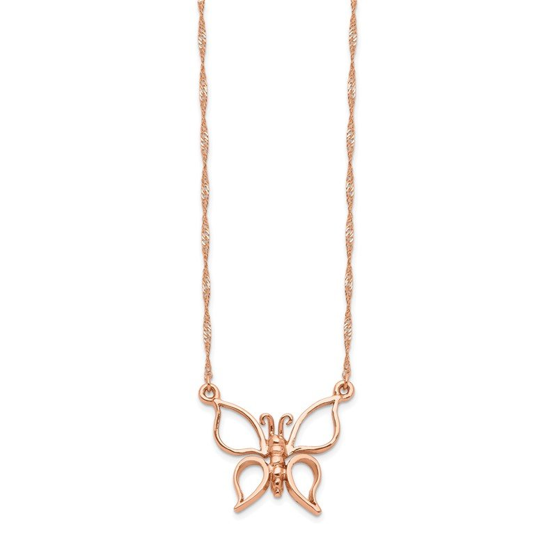 Quality Gold 14k Rose Gold Polished Butterfly Necklace