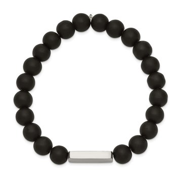 Stainless Steel Polished ID Plate Black Agate Bead Stretch Bracelet