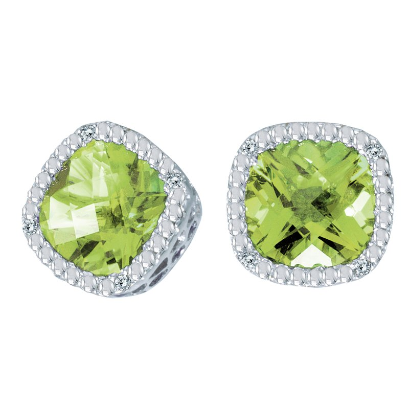 Color Merchants 14k White Gold Cushion Cut Peridot And Diamond Earrings