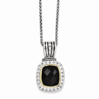 Sterling Silver w/14k Black Onyx & 1/5ct. Diamond 18in Necklace