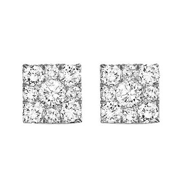 14K Diamond Earrings 1/4 ctw Square