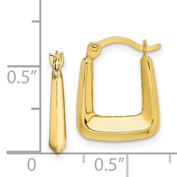 10K Hollow Squared Hollow Hoop Earrings