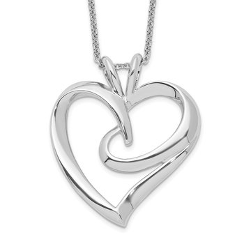 Sterling Silver The Hugging Heart 18in Necklace