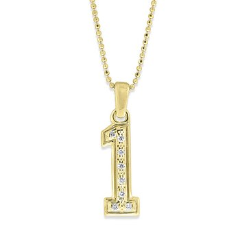 Diamond Jersey Number 1 Necklace in 14k Yellow Gold with 8 Diamonds weighing .04ct tw.