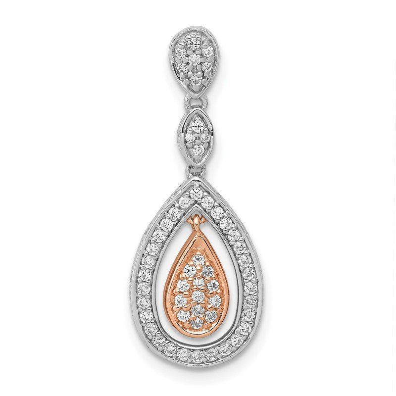 Quality Gold 14k Rose and White Gold 1/4ct. Diamond Double Teardrop Chain Slide
