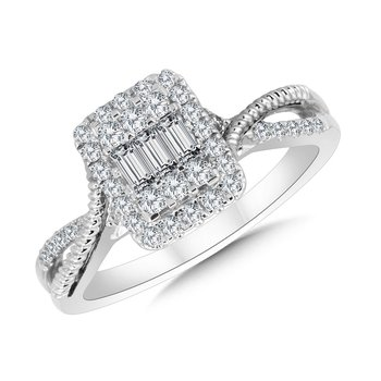 Rectangular Criss Cross Plumb Collection Cluster Diamond Ring