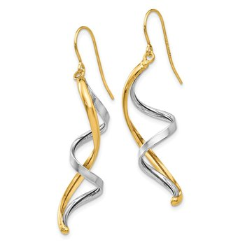 14k Two-tone Polished Fancy Dangle Earrings