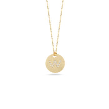 18Kt Gold Disc Pendant With Diamond Initial W