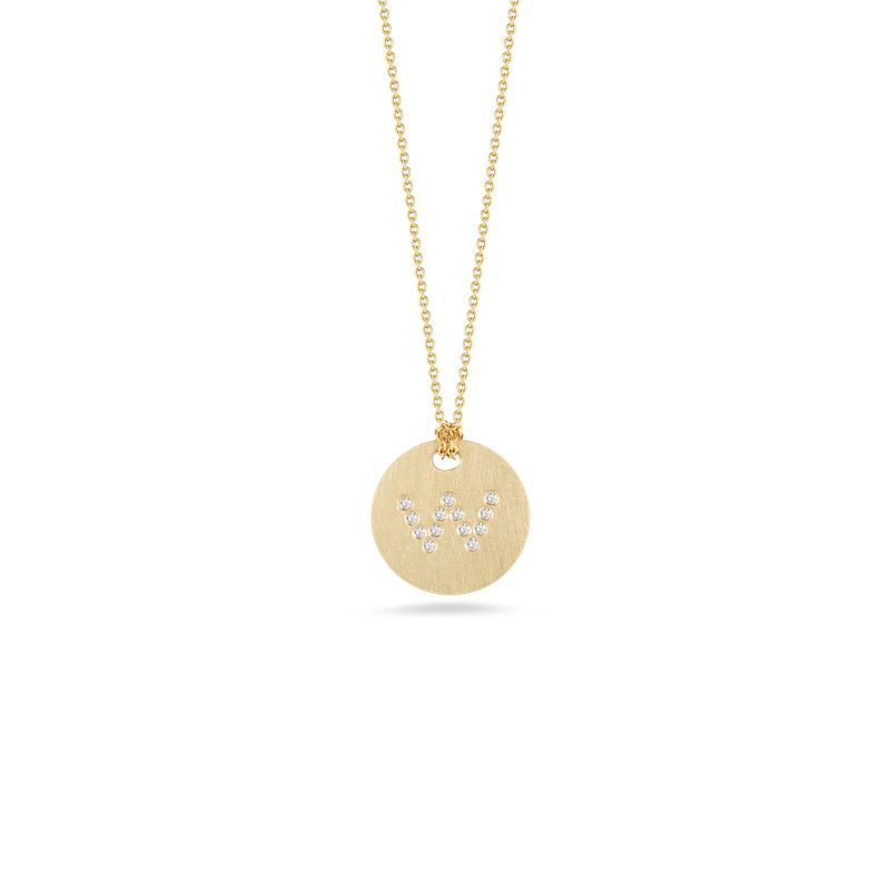 Roberto Coin 18Kt Gold Disc Pendant With Diamond Initial W