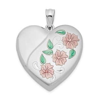 Sterling Silver Rhodium-plated 24mm Enameled, D/C Floral Heart Locket