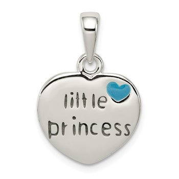 Sterling Silver Enameled Little Princess Heart Pendant