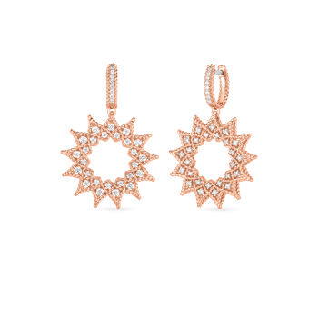 18K DIAMOND ACCENT MEDIUM SUNBURST DROP EARRINGS
