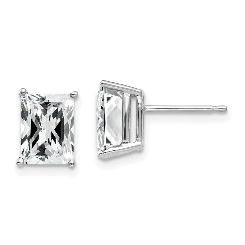 Quality Gold 14k White Gold 8x6mm Radiant Cut Cubic Zirconia Earrings