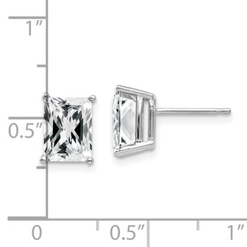 14k White Gold 8x6mm Radiant Cut Cubic Zirconia Earrings