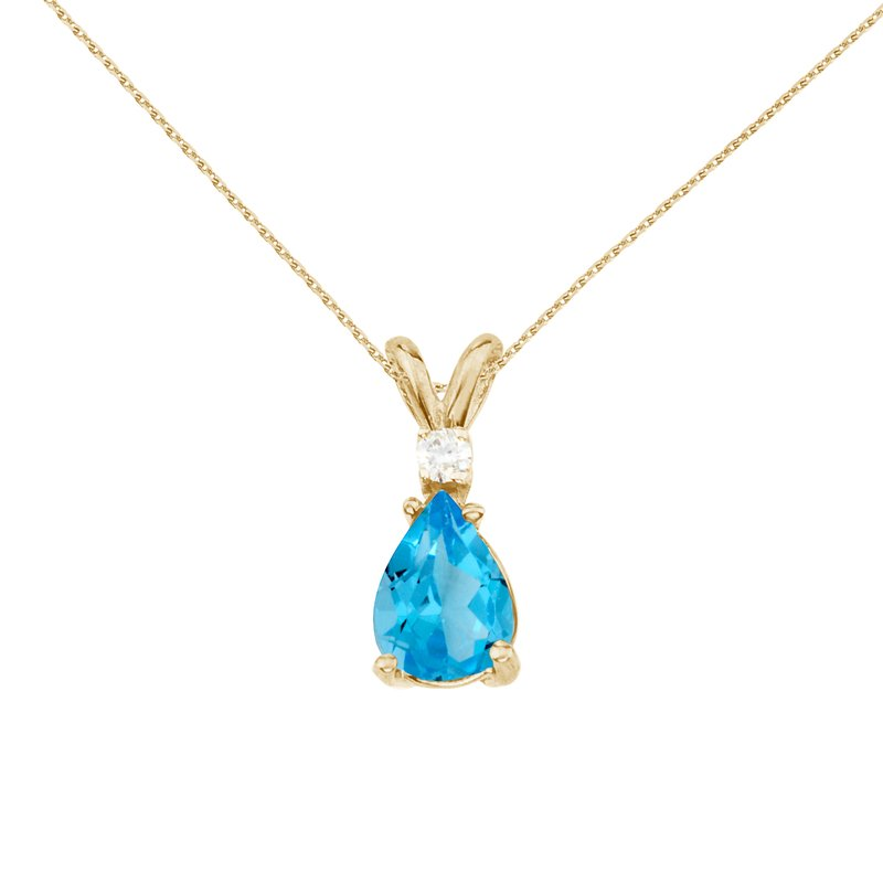 Color Merchants 14k Yellow Gold Pear Shaped Blue Topaz and Diamond Pendant