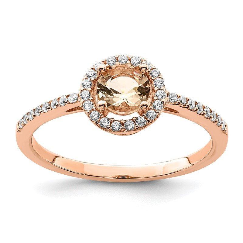 Quality Gold Sterling Silver Rose-tone Peach CZ Halo Ring
