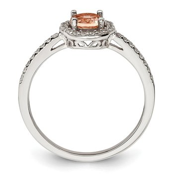 Sterling Silver Rose-tone Peach CZ Halo Ring
