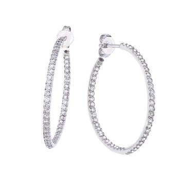 Medium Inside Outside Diamond Hoop Earrings