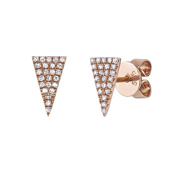 14K Rose Gold Triangular Pavé Diamond Earrings