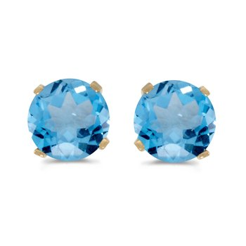 5 mm Natural Round Blue Topaz Stud Earrings Set in 14k Yellow Gold