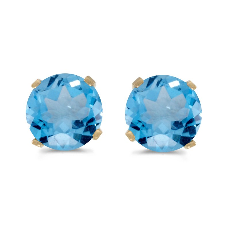 Color Merchants 5 mm Natural Round Blue Topaz Stud Earrings Set in 14k Yellow Gold