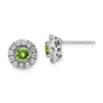 Sterling Silver Rhodium Plated White Topaz Peridot Round Earrings