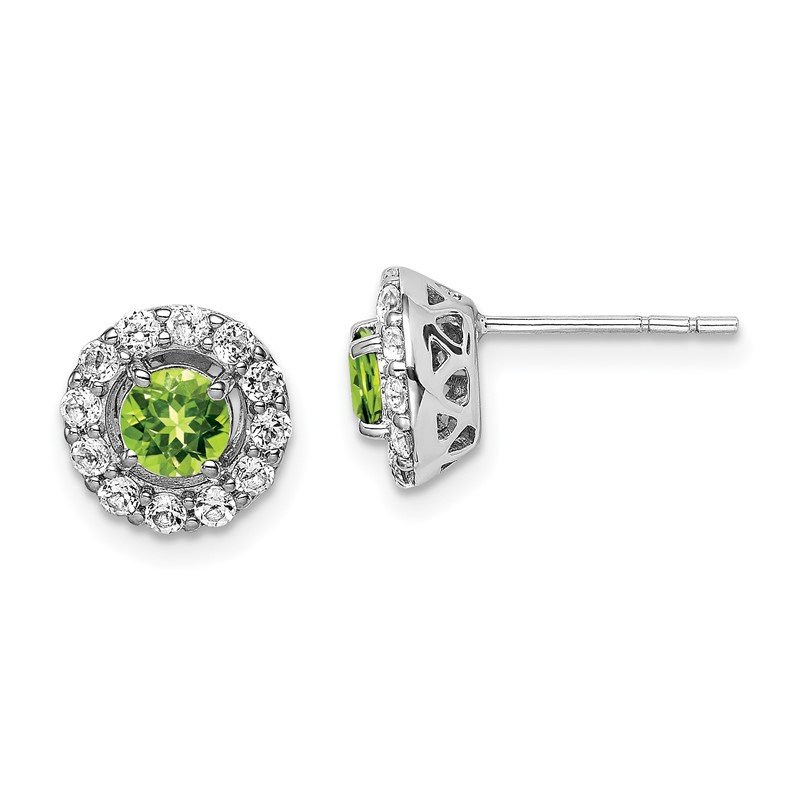 Quality Gold Sterling Silver Rhodium Plated White Topaz Peridot Round Earrings